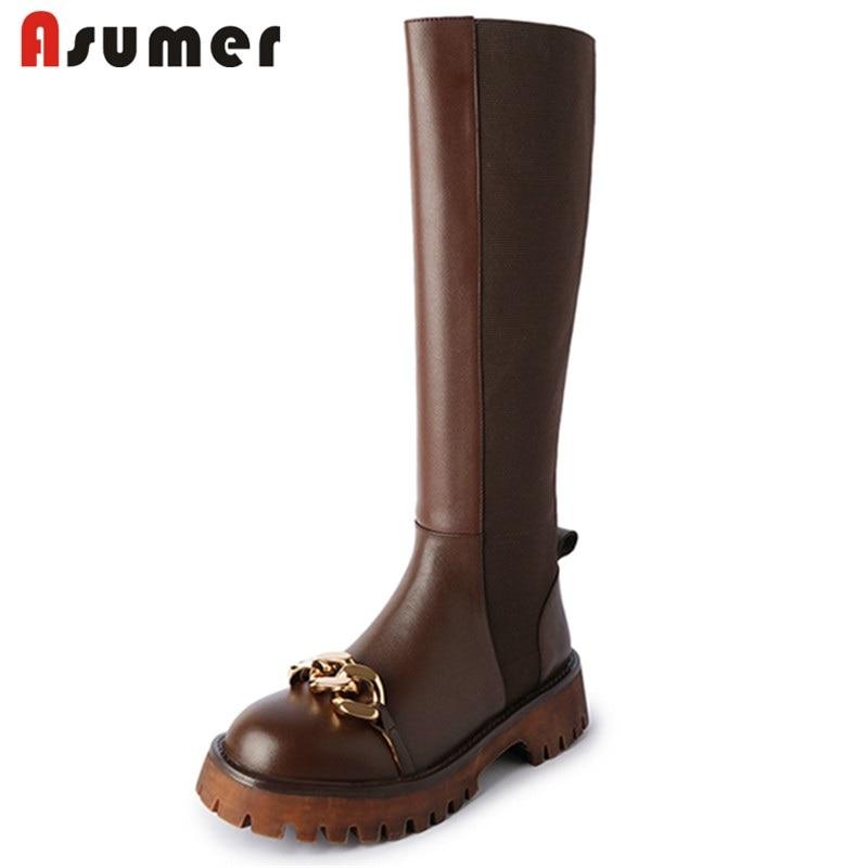 Asumer جديد وصول رائجة البيع جلد البقر الأحذية زخرفة المعادن شقة مع حذاء برقبة للركبة منصة شريط مرن الشتاء النساء الأحذية