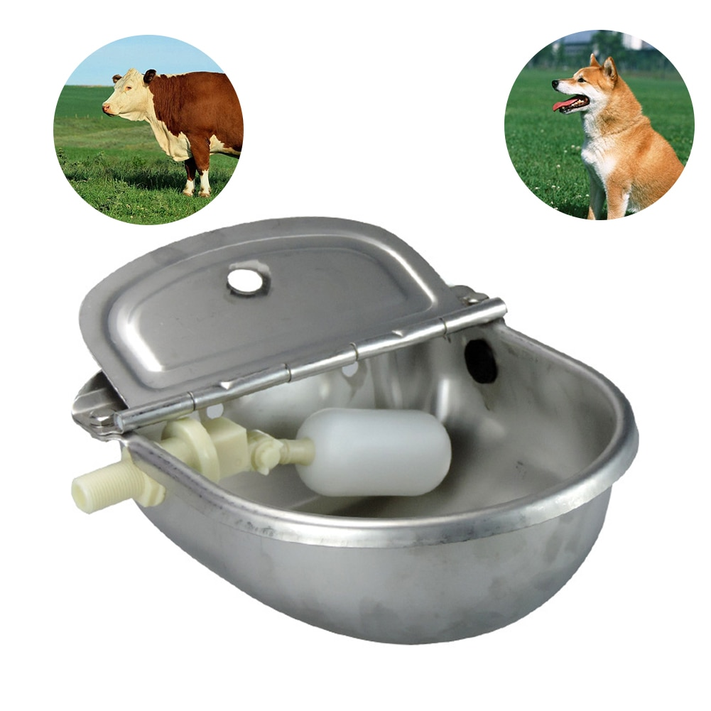 Bebedero para ganado, ovejas, suministros de acero inoxidable, flotante automático para mascotas con orificio de drenaje, cuenco de agua para perros y cabras