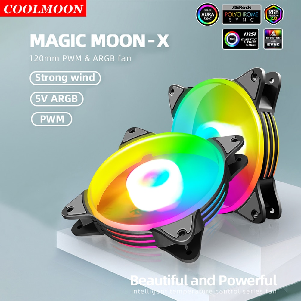 Coolmoon 4Pin PWM Fan PC Case Chassis Cooler 120mm 5V 3Pin ARGB LED Water Cooling Heatsink Radiator for Computer Accessories