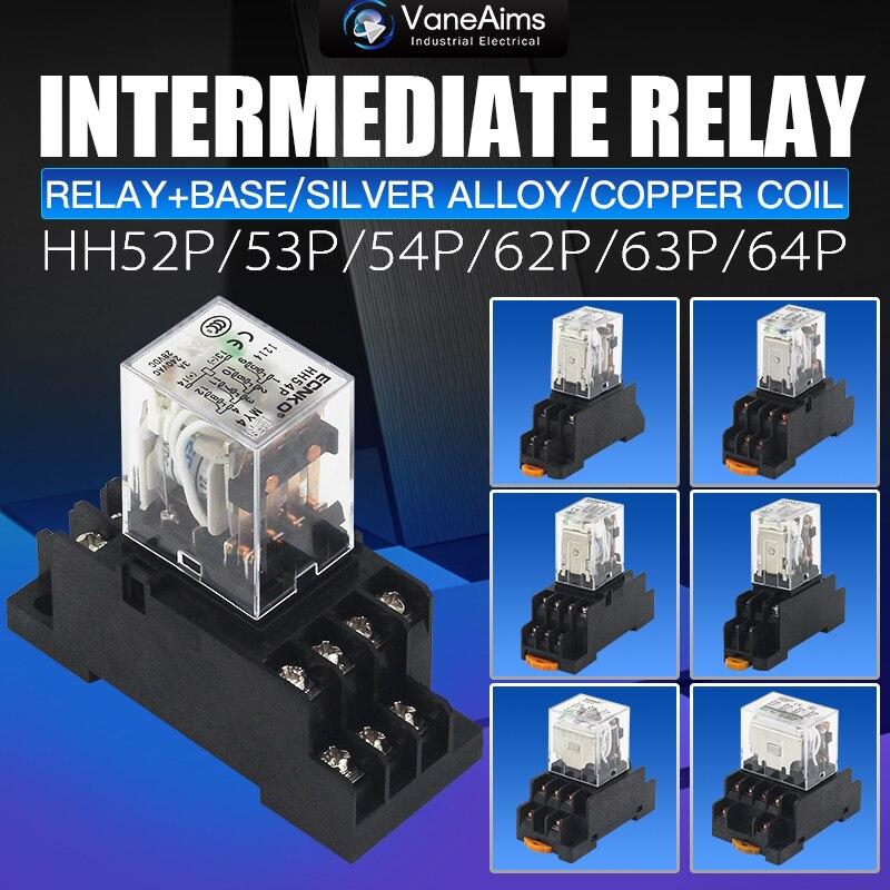 Relé de potencia DPDT General de bobina electromagnética, 10A DPDT, 8 pines HH62P HH63P HH64P DC12V 24V AC220V, relé en miniatura y Base de gran potencia