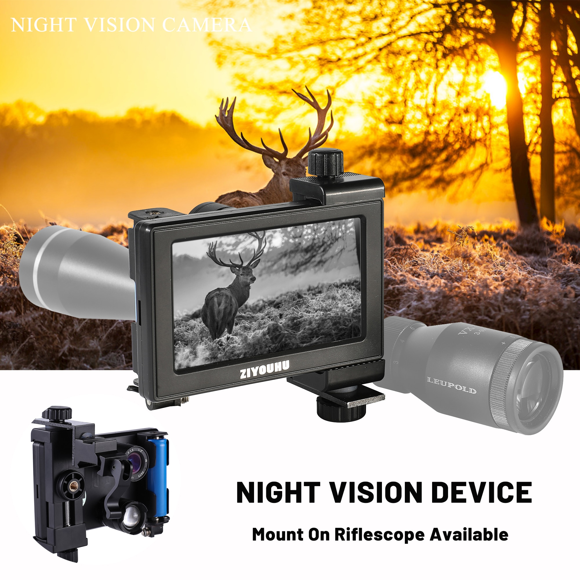 HD Clear Image Infared 12mm Lens Night Vision Camera Scope Adapter Mounted Long Range in Full Darkness Night Viewer for Hunting