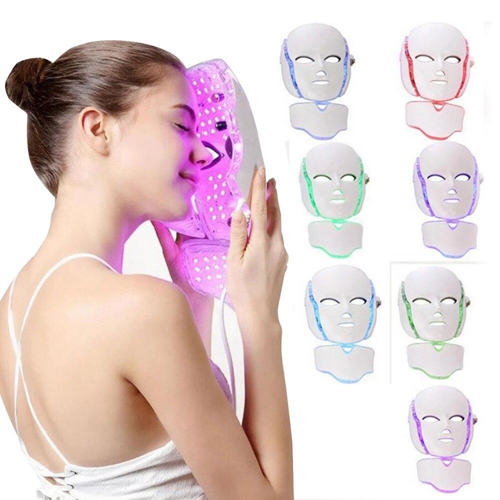 7 ألوان Led ضوء الفوتون قناع الوجه تجديد التجاعيد مزيل حب الشباب الوجه العناية بالجمال العلاج تبييض تشديد الصك