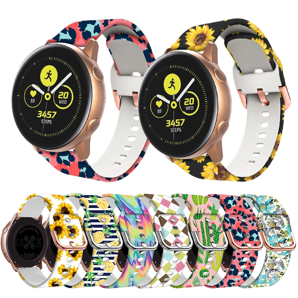 20mm Silicone Band for Samsung Galaxy Watch 42mm Active 2 Watch 3 41mm Gear S2 Women Printing Strap Watchband for Amazfit bip