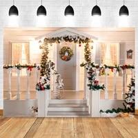 yeele christmas background photography winter house door stairs railing backdrop baby birthday photocall photo studio photophone