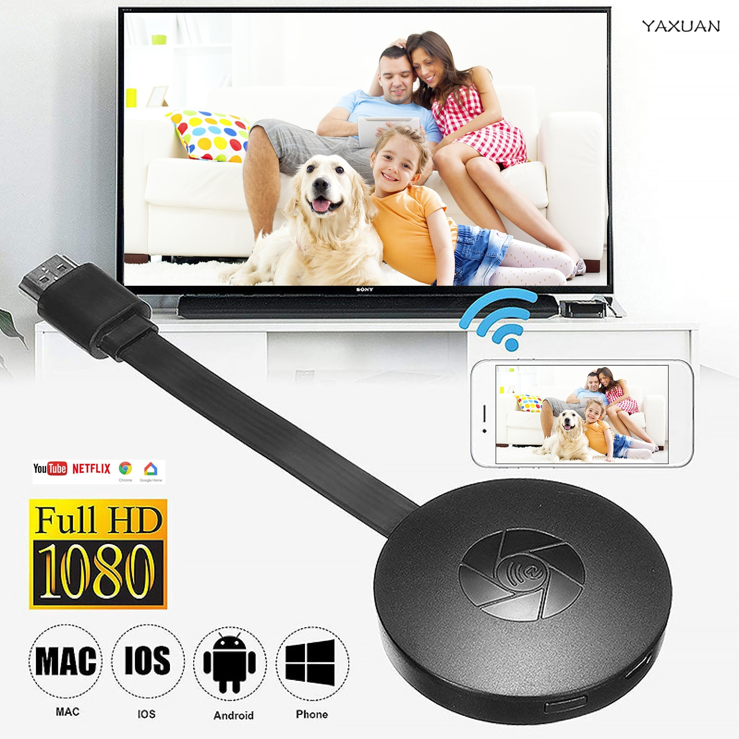 1080P Wireless WiFi Display Dongle TV Stick Video Adapter Airplay DLNA Screen Mirroring Share for iP