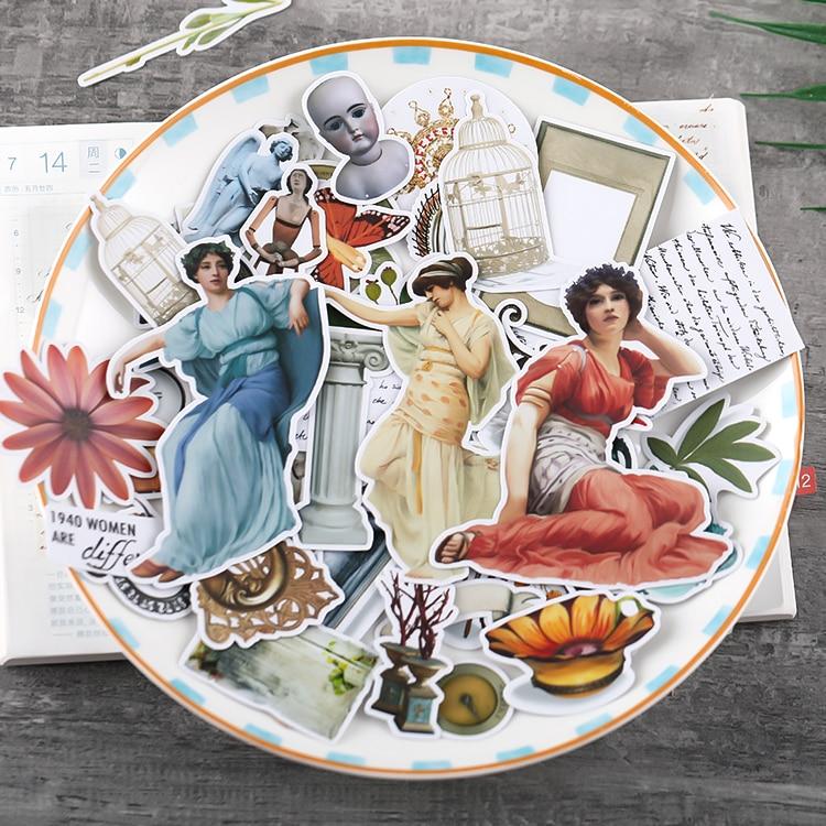 52 pçs do vintage menina adesivos artesanato e scrapbooking adesivos livro adesivo decorativo diy papelaria