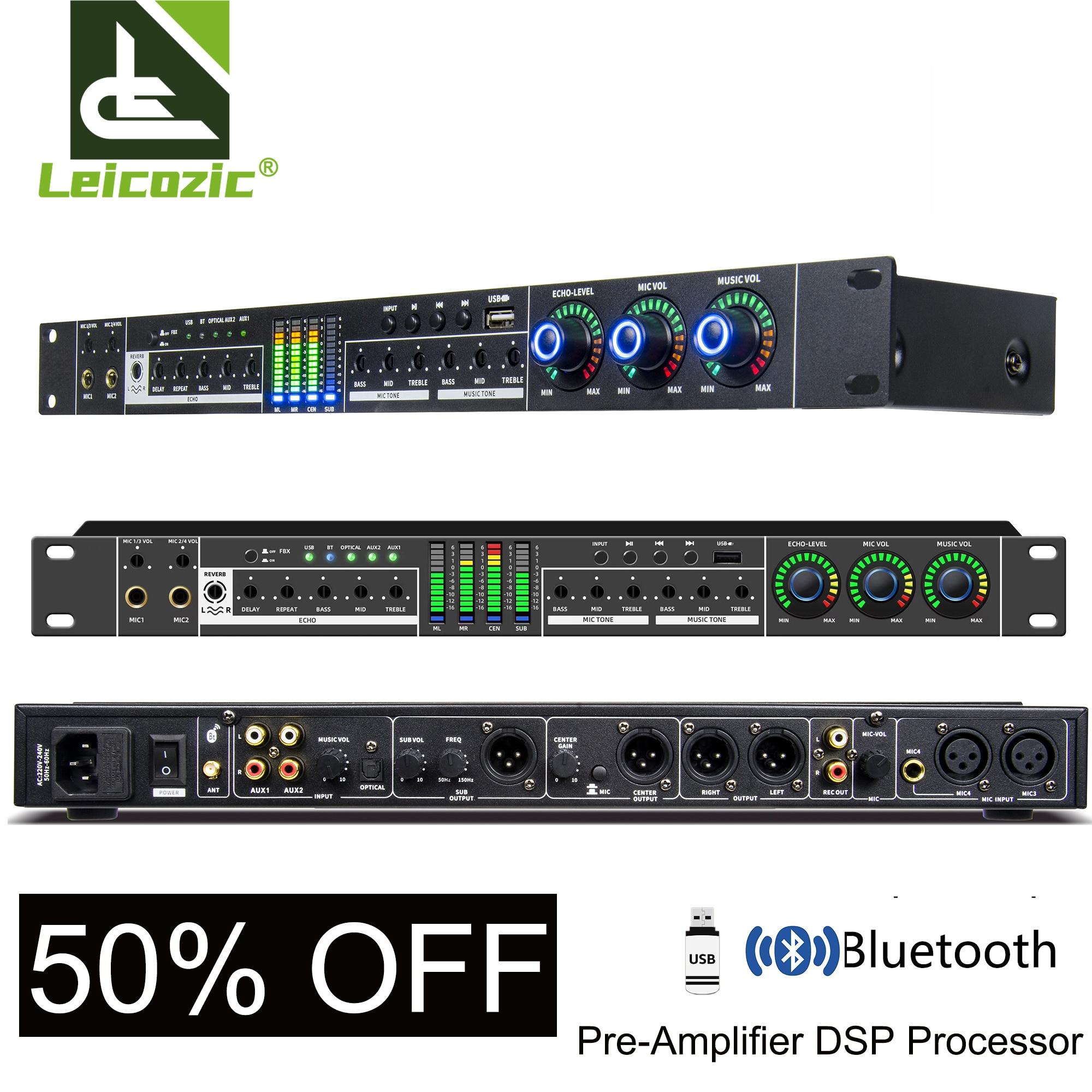 Amplificador profesional DSP para Karaoke, Procesador de Audio, Amplificador de sonido, Bluetooth,...