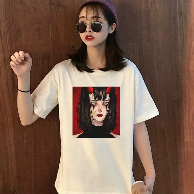 Devil Witch Cartoon Anime Funny tshirt Spoof Punk Print Tops Japanese Harajuku Personality T-Shirt Casual Womens Tees