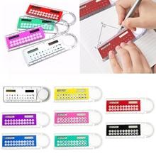Mini Ultra-thin Ruler Solar Calculator Magnifier Multifunction 10cm Calculadora Office Supplies