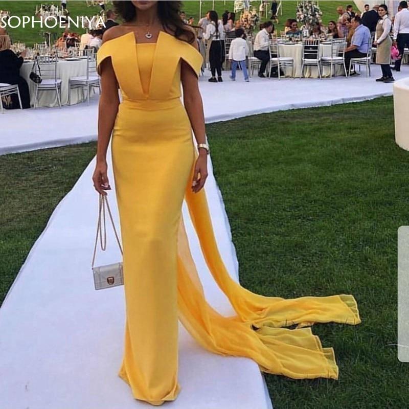 New Arrival Chiffon Yellow evening dresses Long 2021 Evening gown Simple Abiye abendkleider dubai dress