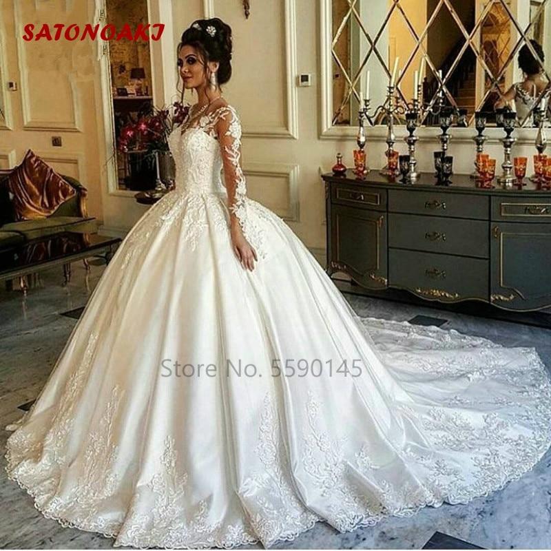Vestido De boda De manga larga, ilusión De encaje, longitud hasta el...