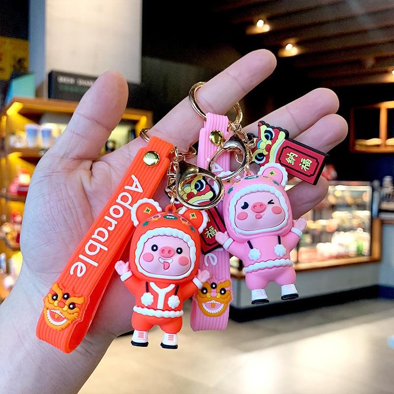 2021 Farm Animal Keychains Good Luck Cow Key Chain Women Bag Gift Jewelry Couple Car Keyring Cattle Keychain Doll