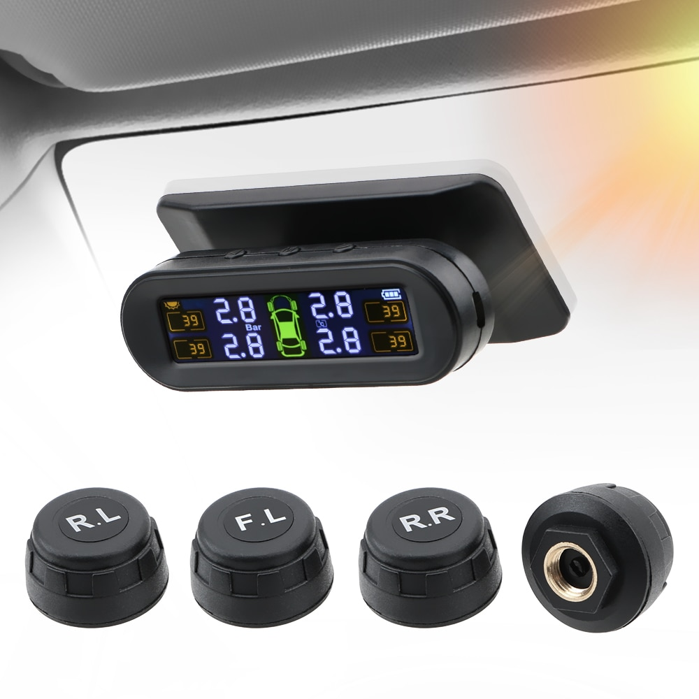 Tire Pressure Monitoring System Solor TPMS Tire Pressure Sensor Fuel Save  Auto Security Alarm Tire Pressure Control System