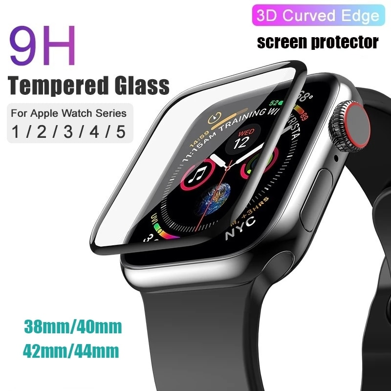 for apple watch tempered glass 44 38 42 40 mm full coverage curved edge frame bumper for i watch series 4 3 2 1 screen protector 3D 9H HD Tempered Glass For Apple Watch Series 6 SE 5 4 3 2 1 38mm 42mm 40mm 44mm Full Cover Curved Edge Screen Protector
