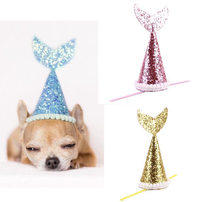 Animal de estimação festa cosplay traje, lantejoulas decorativa cor pura peixe-cauda em forma para cães