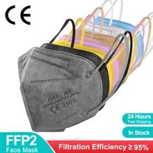 Mascarilla FFP2 KN95 Face Mask Filter 5 Layers CE Reusable FFP2Mask Black Facial Mascherine FFPP2 FPP2 Approved Adult Masks