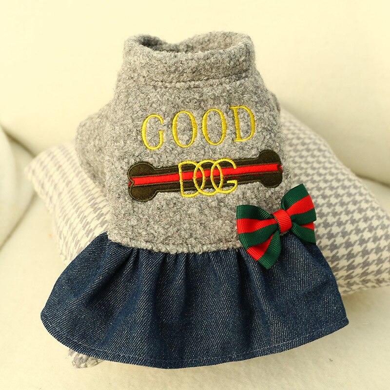 Ropa de invierno para perros, vestido de princesa de Cachemira, ropa de abrigo para perros pequeños para mascotas, falda de invierno de lana espesa para perros cachorros