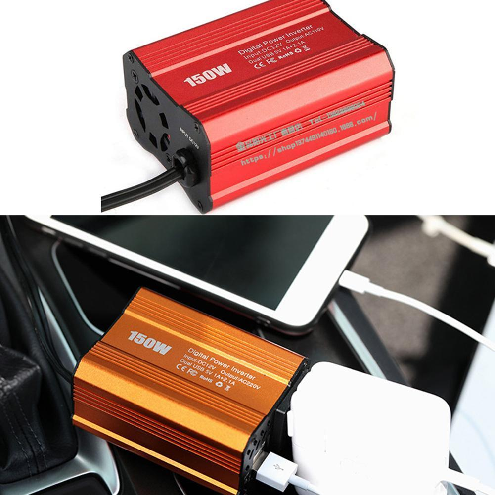 Автомобильный инвертор мощности 150 Вт, инвертор для автомобильного зарядного устройства, модифицированный синусоидальный адаптер, Европей...