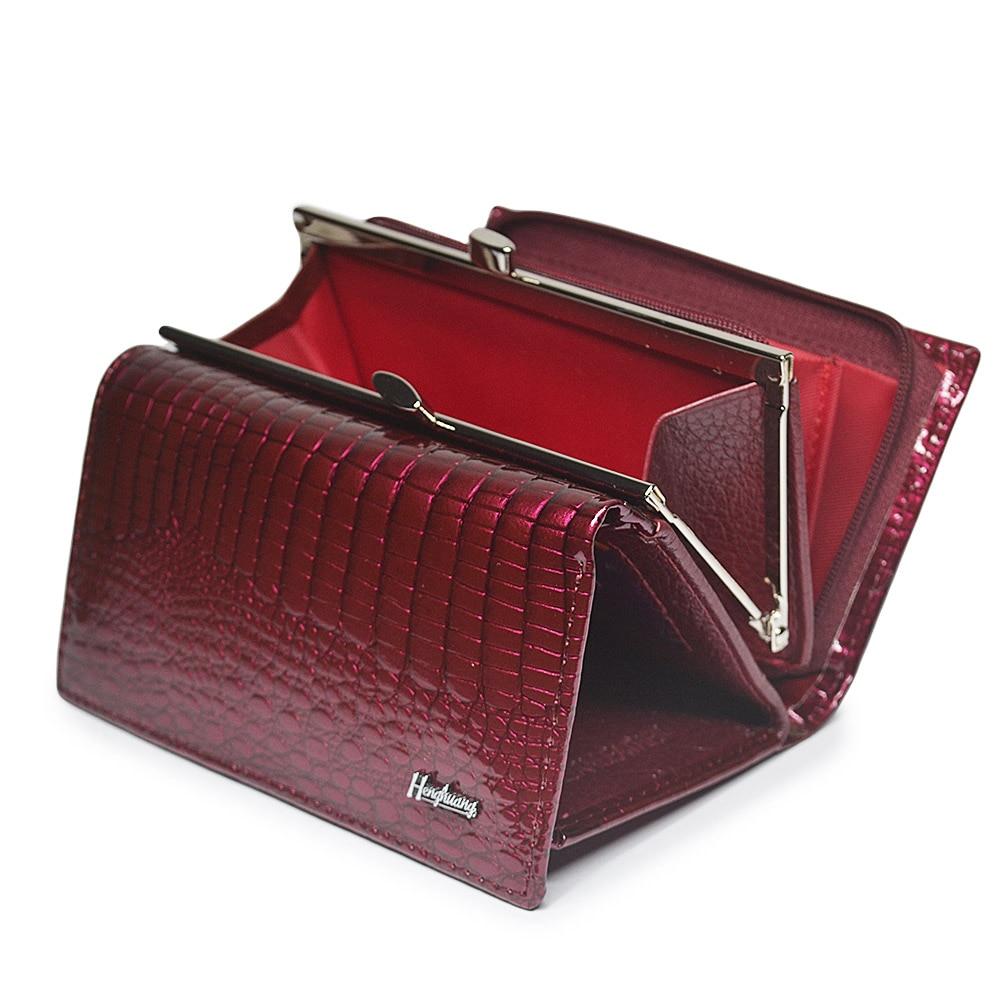 HH-محفظة قصيرة فاخرة من جلد التمساح الأصلي للنساء ، مع سحاب ، مزلاج ، سعة كبيرة ، محفظة صغيرة من جلد العجل