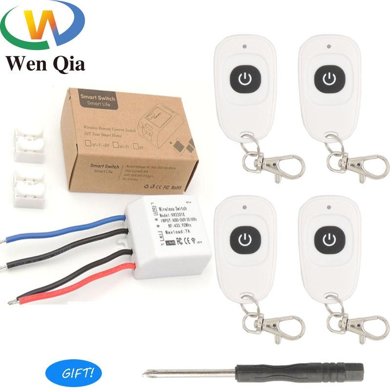 1gang receptor inalámbrico RF Universal AC 85 ~ 433 V de 220 Mhz con cable transmisor interruptor con mando a distancia lámpara de luz led para el hogar