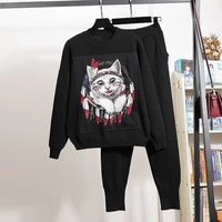 black gray knitted two piece outfits women tracksuits loose embroidery cartoons pullover sweater long pants set female knit suit
