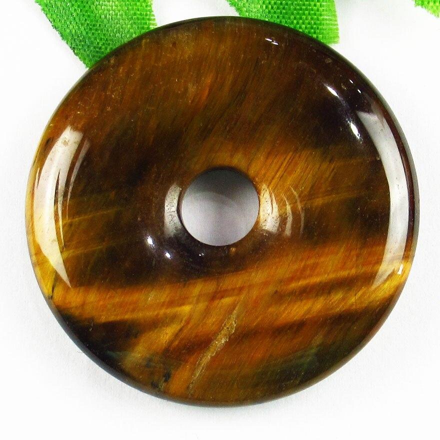40x6mm 1 pçs bonito natural tigre olho donut pingente grânulo ls7hg