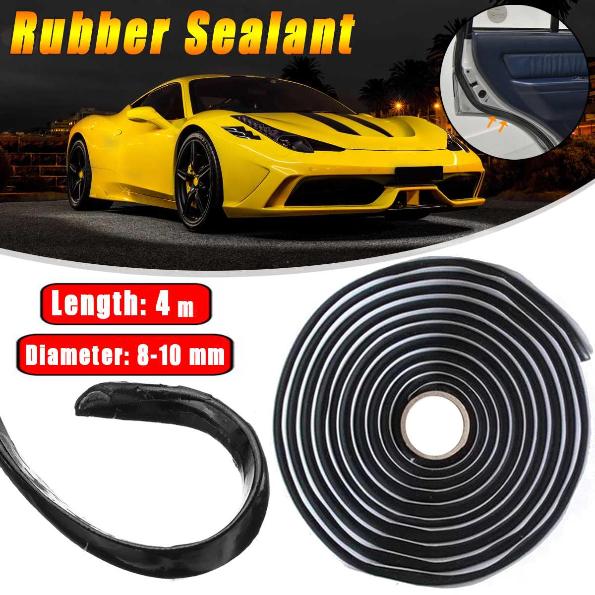 2x Car Rubber Sealant 4 Meters Butyl Glue Headlight Windshield Retrofit Reseal Hid Headlamps Taillig