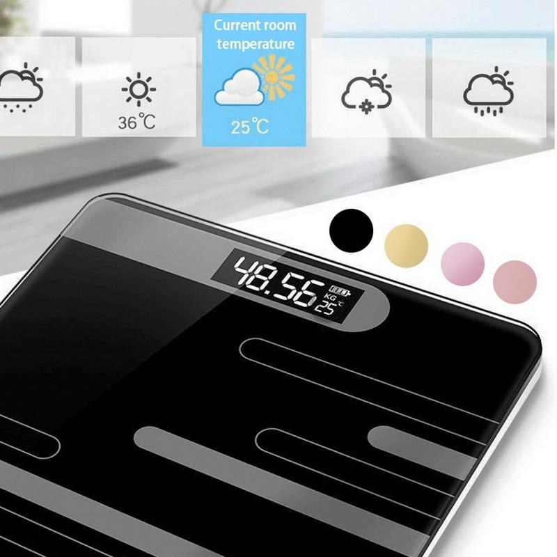 DIDIHOU, báscula corporal de suelo, báscula electrónica inteligente de cristal, pantalla LCD de carga USB, báscula de peso Digital para el hogar