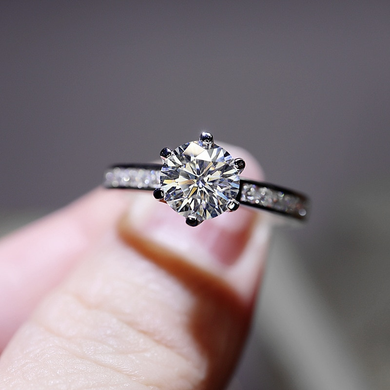 Exquisite Moissanite Rings Luxury 925 Sterling Silver Crown Jewelry For Women Wedding Engagement Best Statement Gift