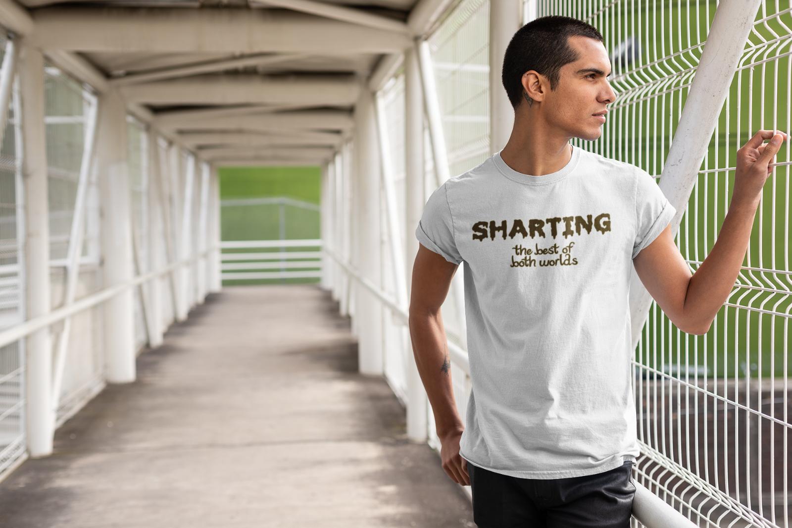 Camiseta Sharting The Best Of Both Worlds para hombre, divertida broma, camiseta de Humor para adultos, Blanca