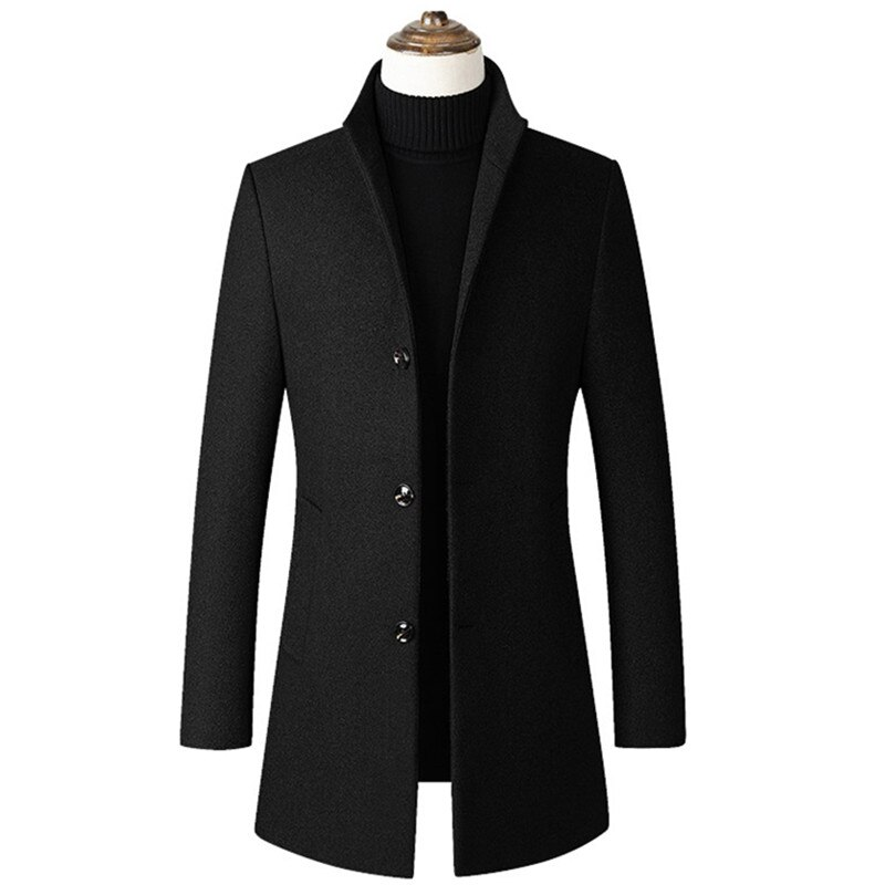 Autumn Winter New Men's Woolen Coat Wool Blends Thickening / Male Business Warm Stand Collar Long Sl