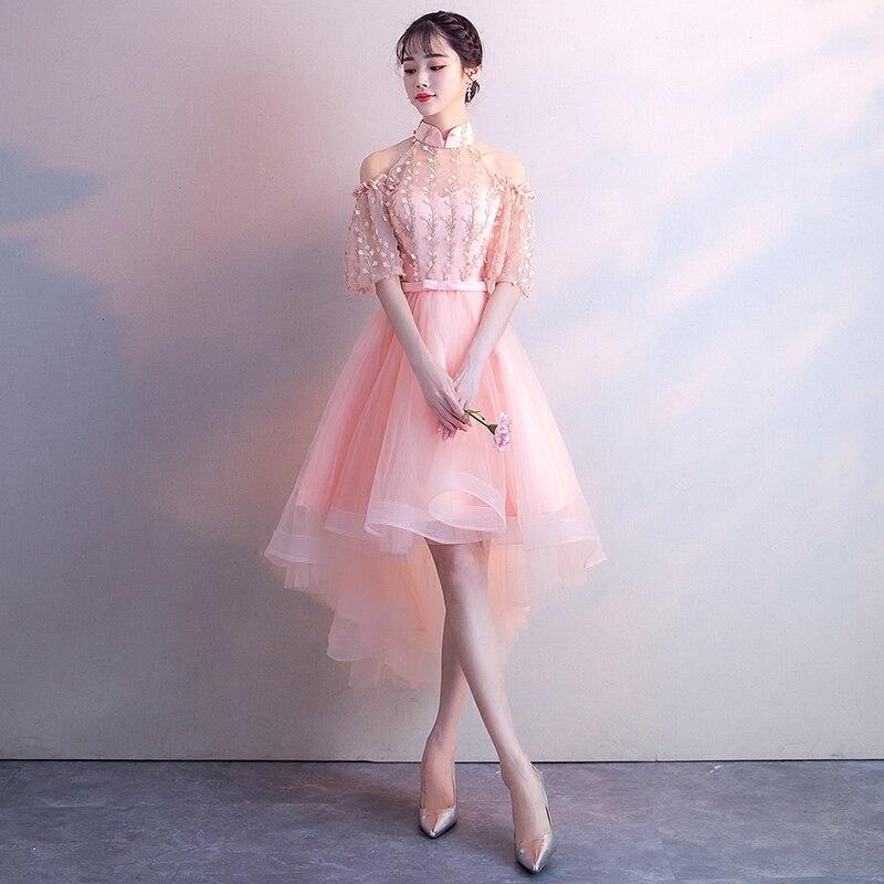 Женское вечернее платье-Ципао, розовое Сетчатое кружевное платье в китайском стиле для выпускного вечера