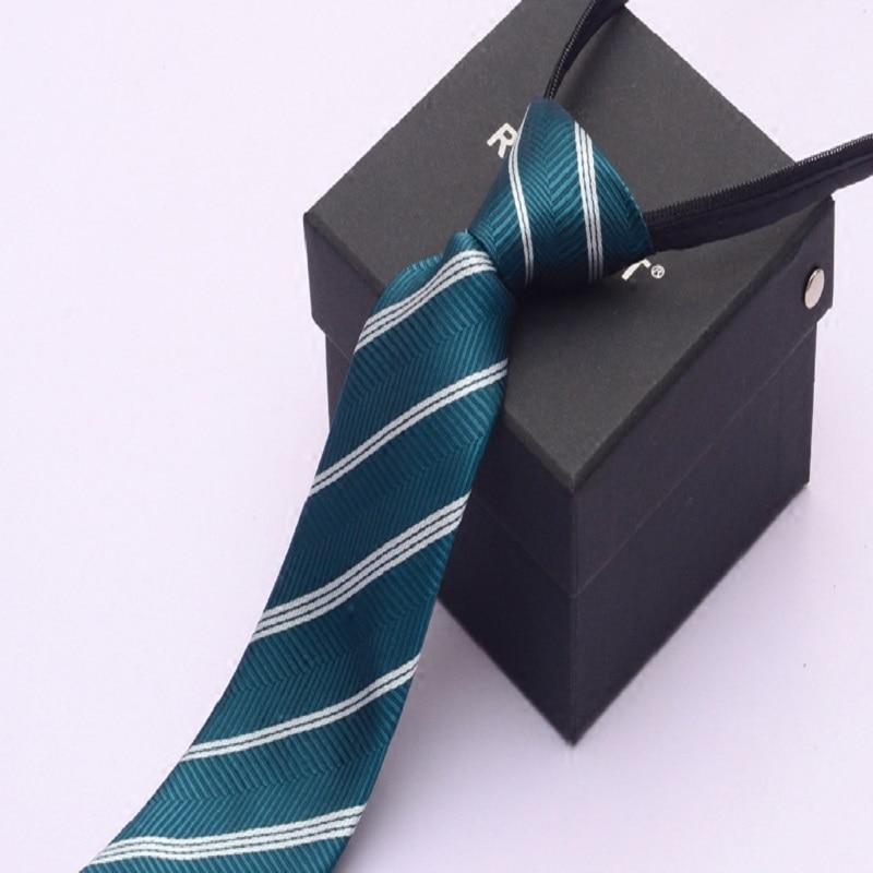 High Quality 2020 New Fashion Ties Men Formal Zipper 7cm Dark Green White Stripe Tie Wedding Neckties Designers with Gift Box