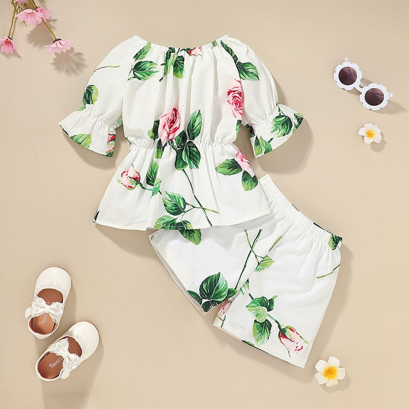 2021 Baby Girls Clothes Sets Toddler Kids Summer Outfits Cute Flower Free Shipping Suit Short Designer Top+Pants 2 Piece Costume