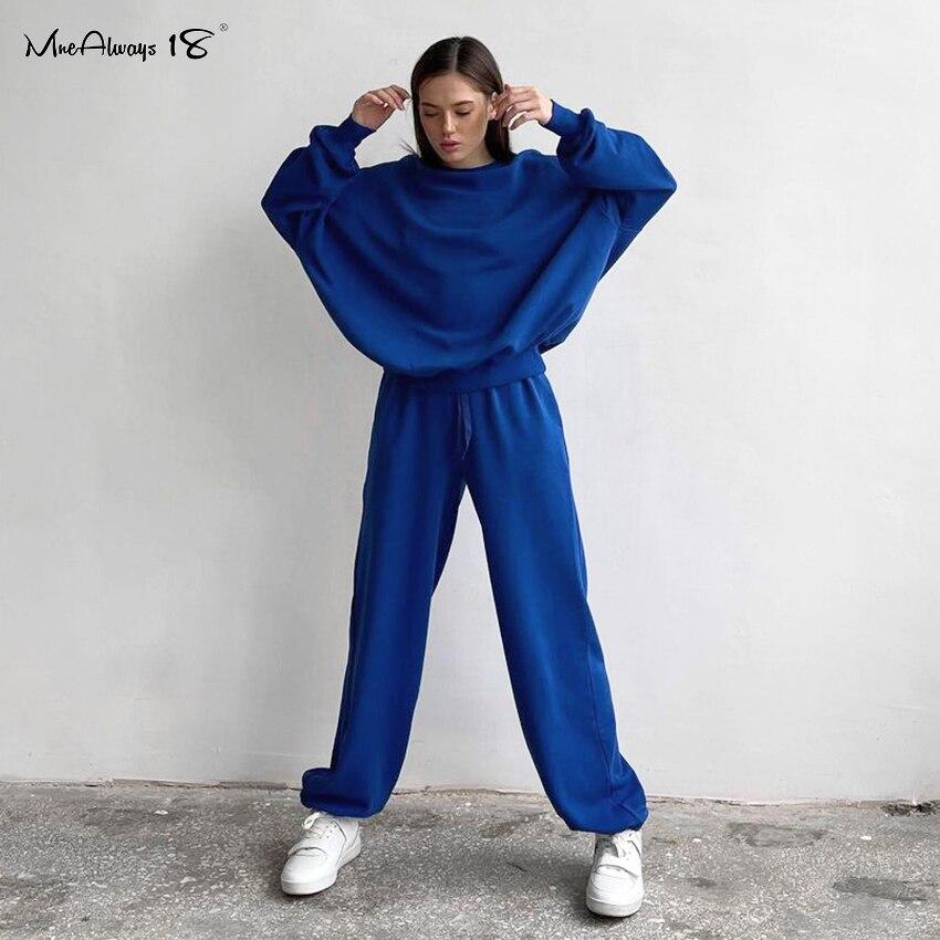 Mnealways18 بلوزة نسائية بأكمام عريضة وبنطلون بنطلون رياضي برباط بدلة رياضية شتوية للسيدات ملابس رياضية زرقاء من قطعتين