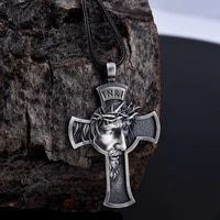 new personality religious christian pendant necklace for men crown of thorns jesus cross necklace pendant accessories jewelry