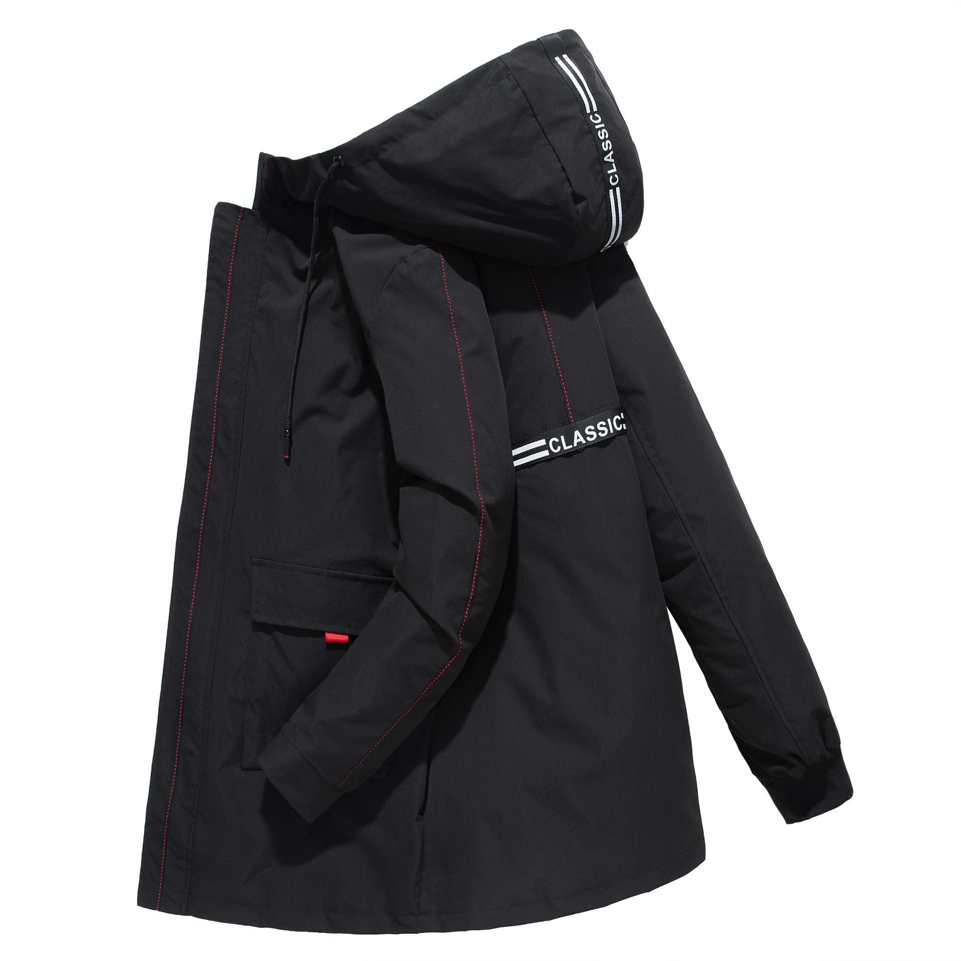 Мужская Длинная ветровка размера плюс, Мужское пальто, мужская верхняя одежда, новая черная Повседневная Свободная куртка