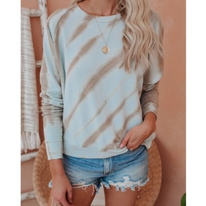 20202021 Autumn And Winter New Women's Sweatshirt Fashion Tie-dye Round Neck Long-sleeved Loose Pullover Female  Wn*