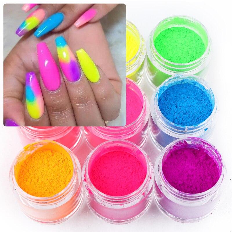 9 Boxes/set Neon Pigment Glitter Powder Fluorescence Nail Glitter Shinny Dust Ombre DIY Gel Manicure Nail Art Decorations 10ML