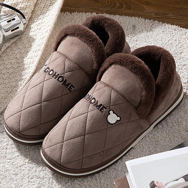 Мужские зимние теплые домашние тапочки, зимние теплые меховые тапочки в клетку, мужские меховые хлопковые туфли на платформе, пушистая обув...
