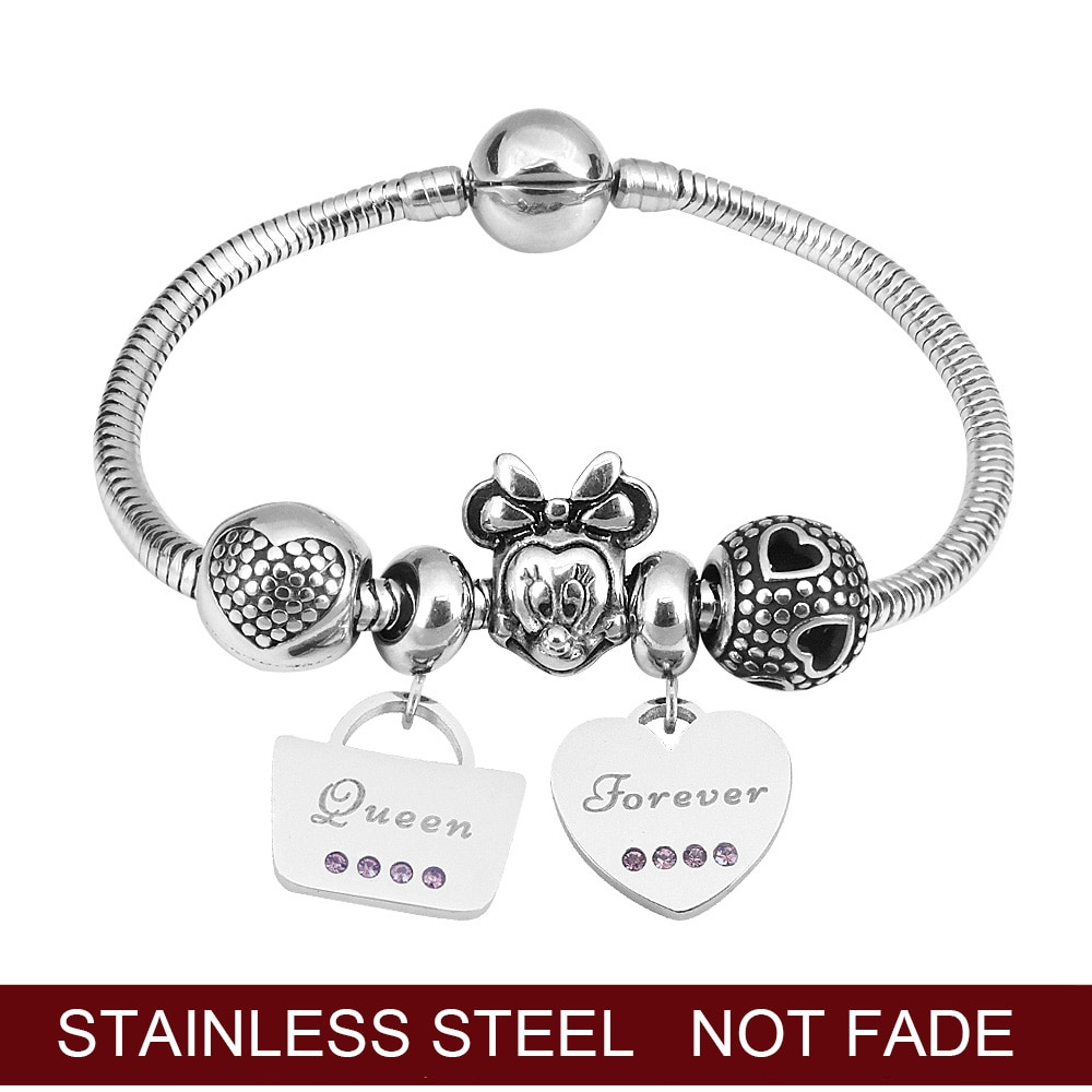 Pandama amor coração minnie charme pulseira em jóias de aço inoxidável para menina senhora