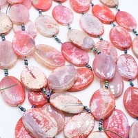 2strandslot natural faceted cracked smooth irregular oval barbie powder agate beads for diy necklace jewelry making