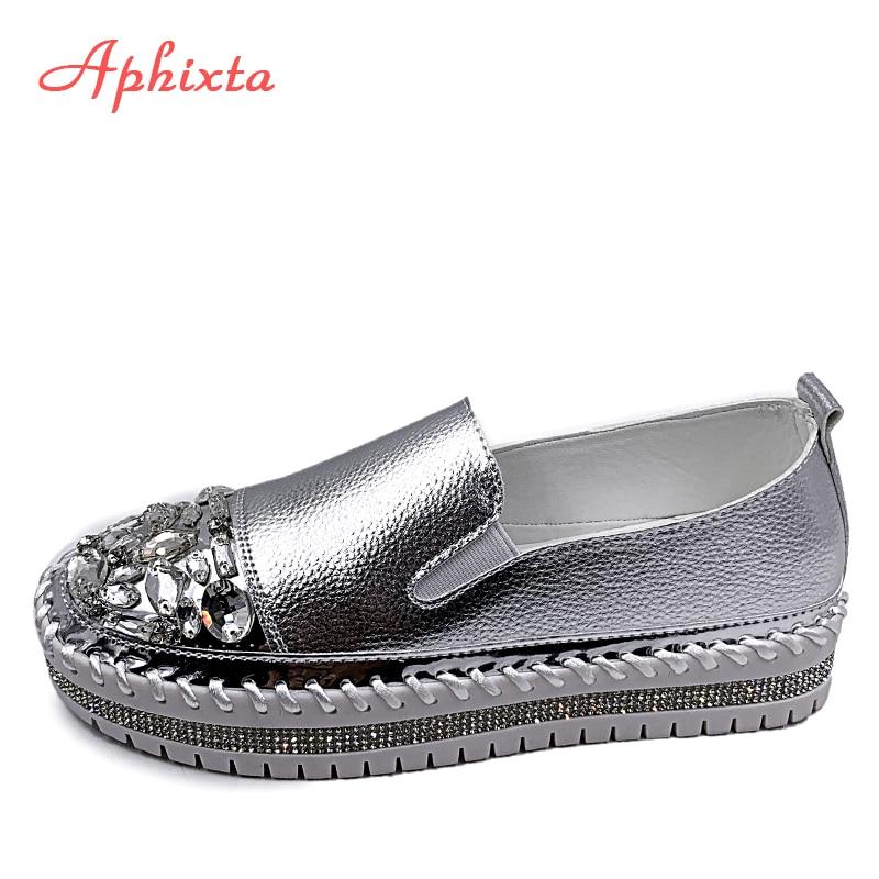 Aphixta بلورات جولة تو جلدية الشقق أحذية النساء الفضة بلينغ المتسكعون زوجين أحذية منصة امرأة شقة مع الطلاب حجم 43