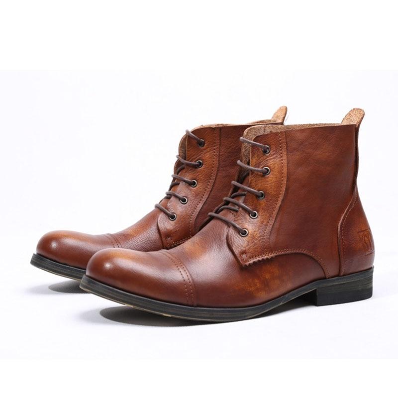Botas altas de invierno para hombre, botas cálidas de piel auténtica, botines antideslizantes para hombre, botas Martin para hombre, calzado de invierno E73