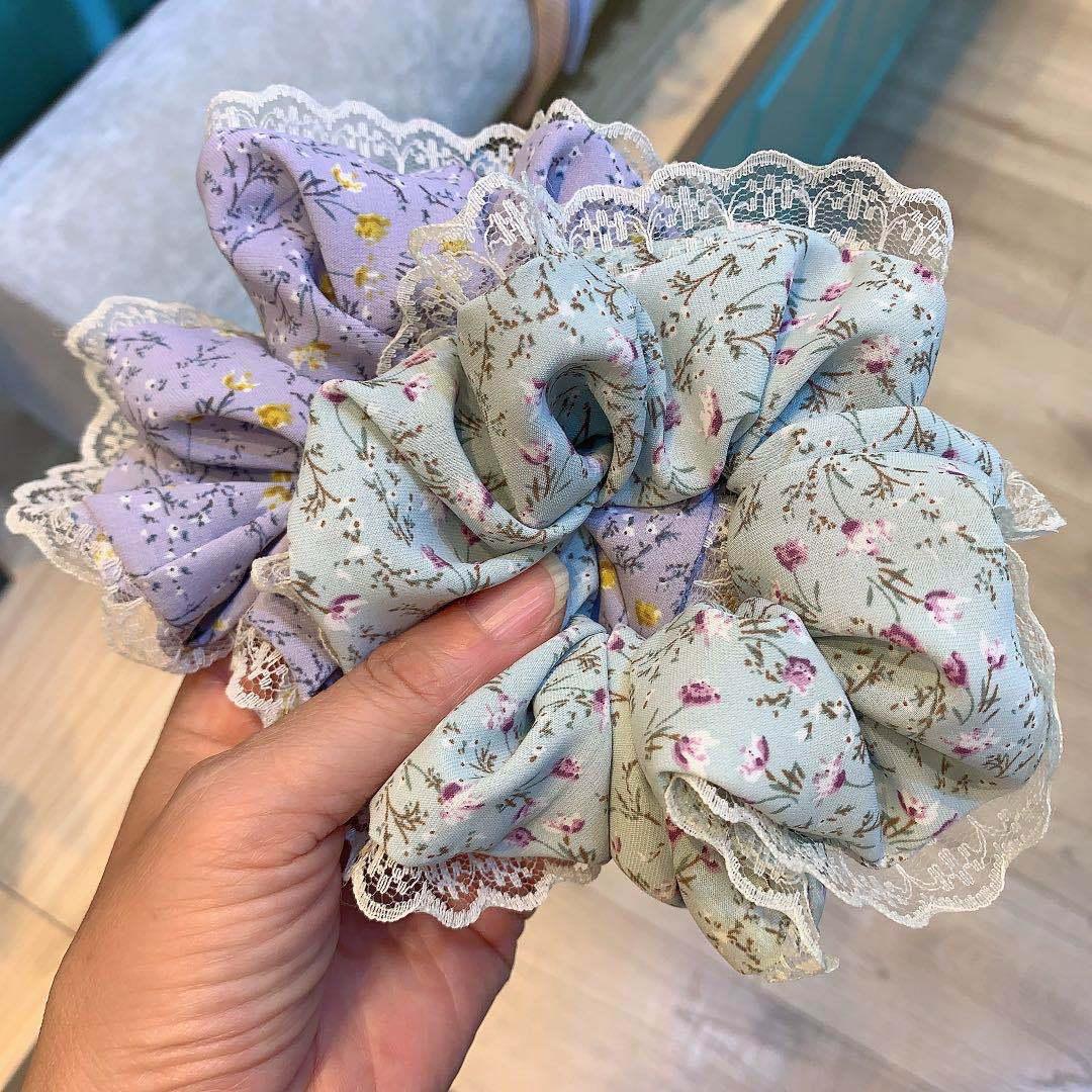 Vintage Large Lace Hair Ring Women Floral Scrunchie Sweet Ladies Ponytail Holder Girl Elastic Hair Rope Hair Accessories