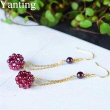 Yanting Natural Garnet Ball Earrings Female Colorful Stones Earrings Handmade Knitted Earings Ethnic Jewelry Gift New 0185