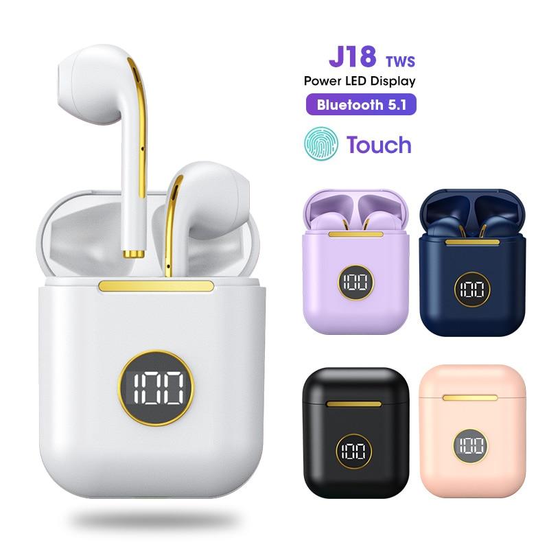 J18 ترقية TWS بلوتوث 5.1 سماعة شحن صندوق سماعة رأس لاسلكية سماعات أذن استريو سماعة مع ميكروفون ل iOS/أندرويد