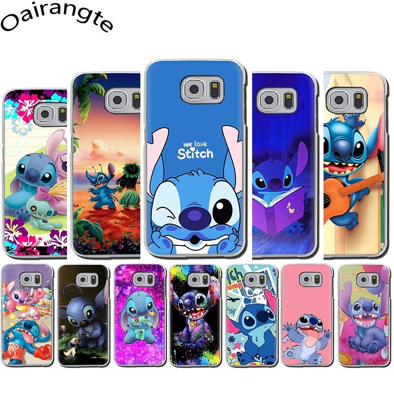 Bonita Funda rígida de Lilo & Stitch para Samsung Galaxy S6 7 Edge S8 9 10 Plus Note8 9 M10 20 30