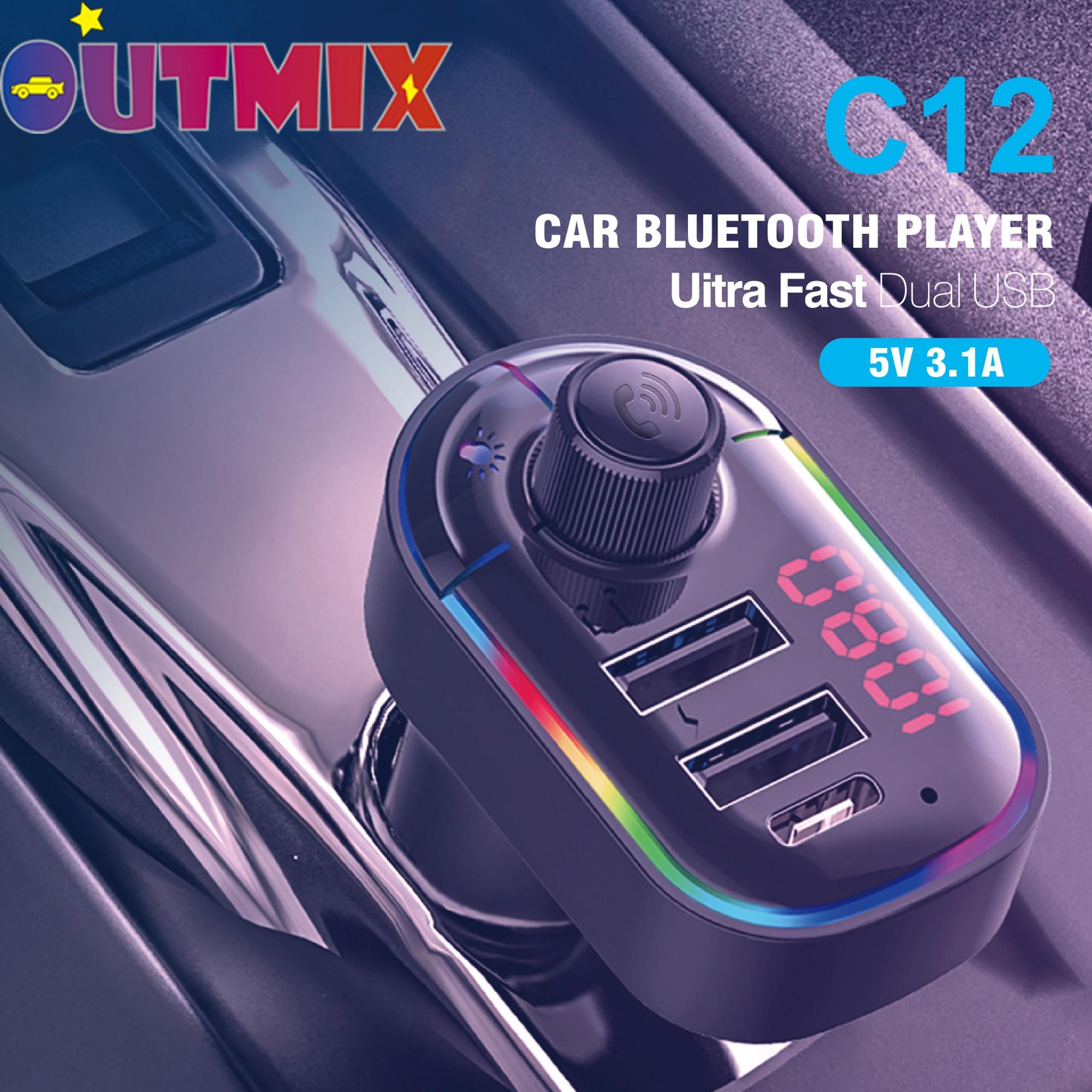 Transmisor de FM Hilfs modulador Bluetooth manos libres Kit de coche de Audio de coche MP3 jugador Mit 3,1 EINE Schnelle Lade Und Umgebungs Licht