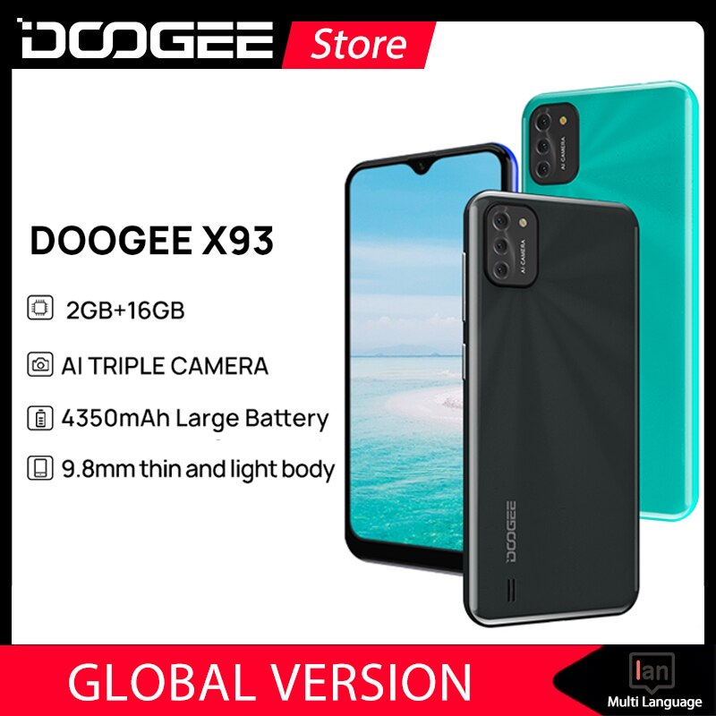 DOOGEE X93 الهاتف المحمول 9.8 مللي متر رقيقة وخفيفة الجسم أندرويد 10 AI الثلاثي كاميرا 8MP الهاتف الذكي 6.1